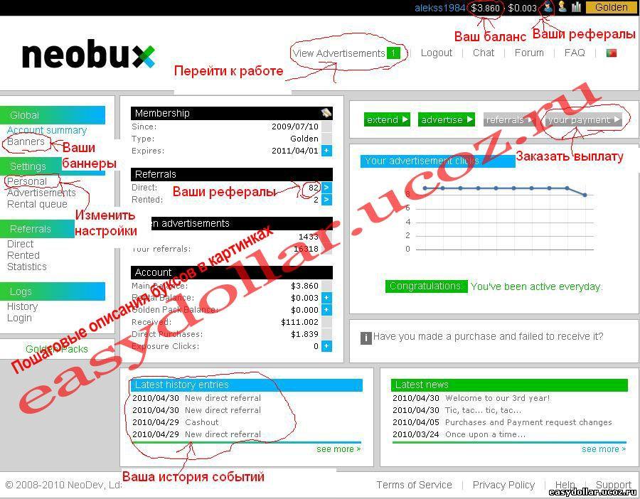 главное меню Neobux