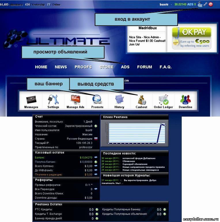 Главное меню Ultimateptc