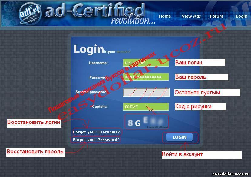 Форма входа в аккаунт Adcrt