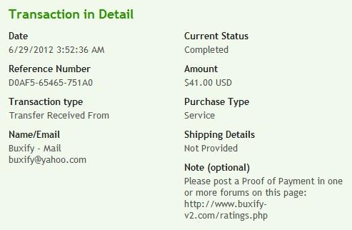 доказательство выплат с Buxify V2